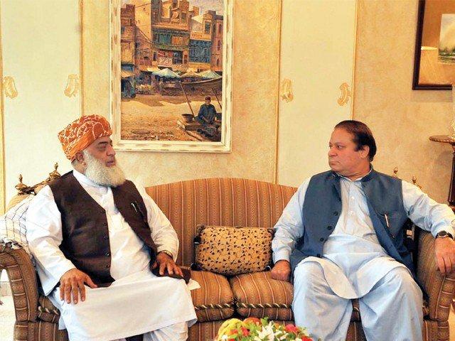 a file photo of a meeting between nawaz sharif and maulana fazlur rehman photo express