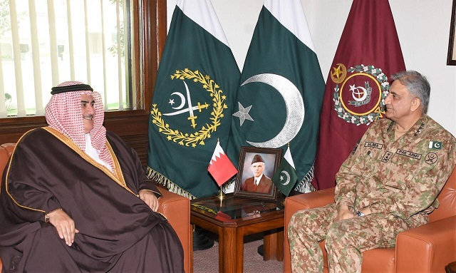 bahrain foreign minister calls on bajwa at ghq photo ispr