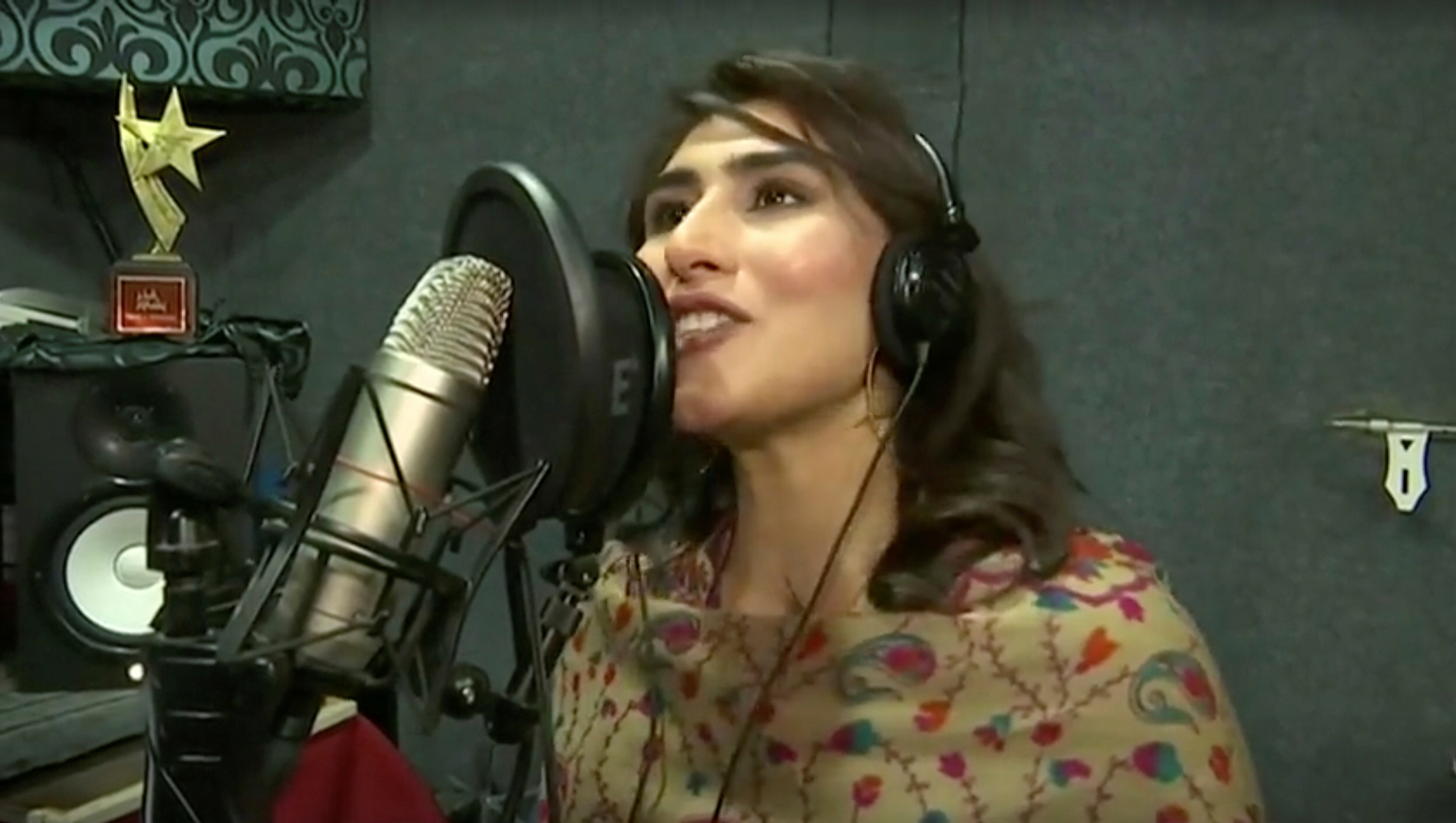 sana tajik 20 performs in a music recording studio in this screen grab taken from an undated video photo reuters