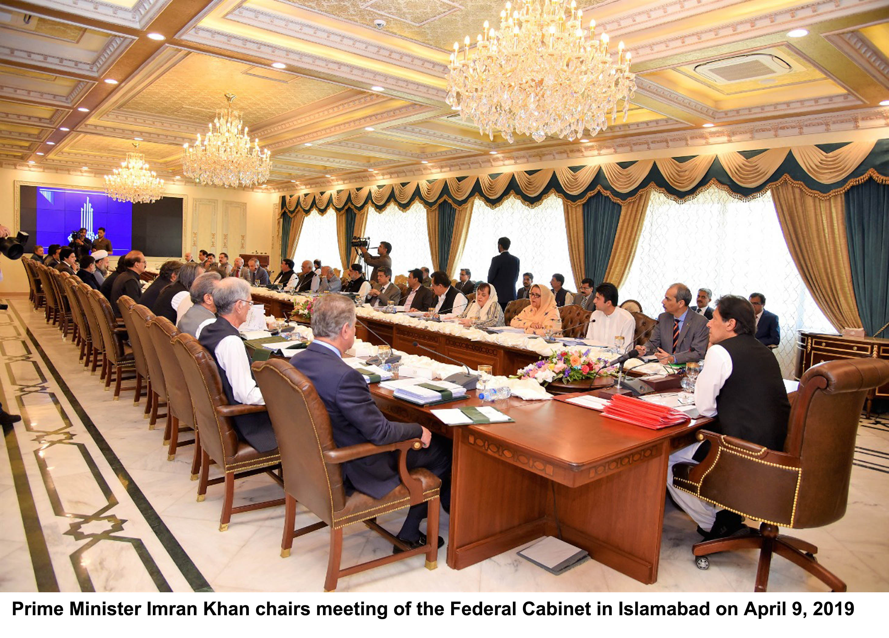 prime minister imran khan chairs meeting of the federal cabinet in islamabad on april 9 2019 photo pid