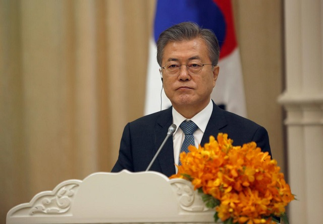 south korea 039 s president moon jae in attends a news conference after a signing ceremony at the peace palace in phnom penh cambodia march 15 2019 photo reuters