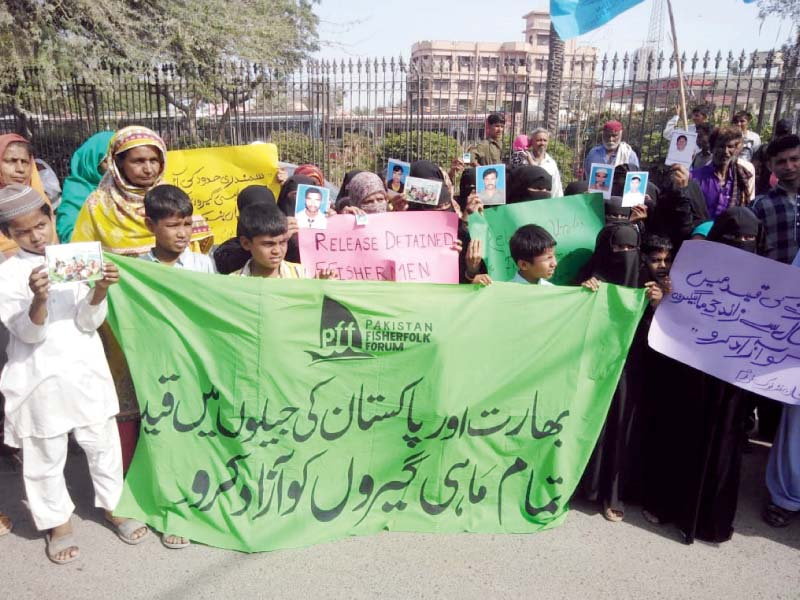 scores of protesters gathered outside the kpc on thursday demanding the release of pakistani fishermen languishing in india s jails photo express