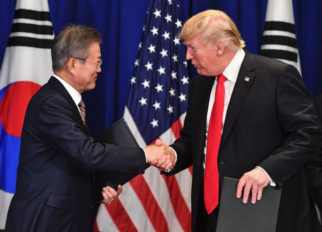 us president donald trump and south korean president moon jae in will meet in april in washington photo afp