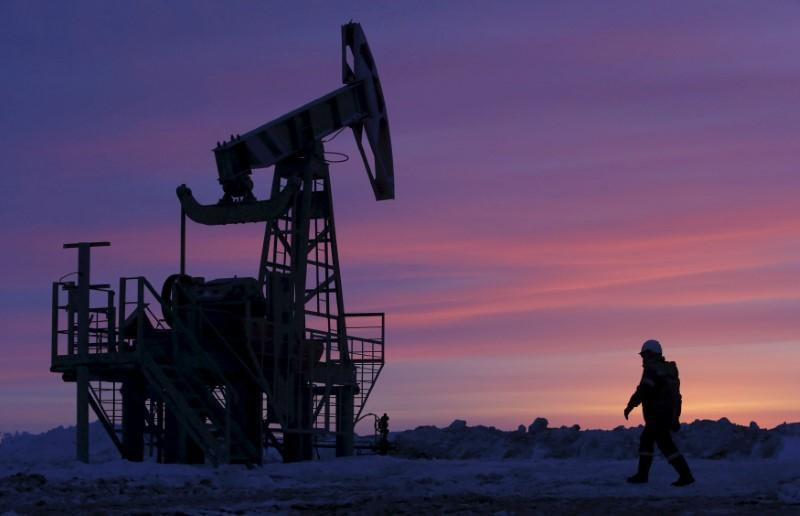 Brent crude oil futures heading for 1.9% weekly gain and US WTI for 2.3% weekly gain. PHOTO: REUTERS