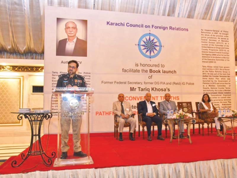 the sindh igp dr kaleem imam takes to the podium to share his thoughts on the inconvenient truths by the former igp tariq khosa on friday photo express