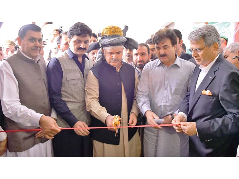 CM Mahmood Khan inaugurates Insaf Rozgaar Scheme in Mohmand district. PHOTO: EXPRESS