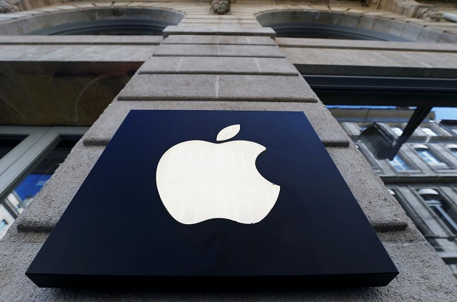 The logo of Apple company is seen outside an Apple store in Bordeaux, France, March 22, 2019. PHOTO: REUTERS