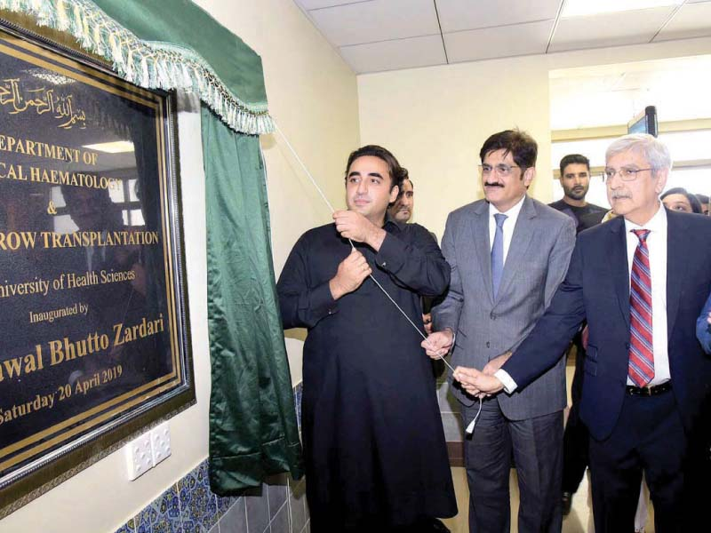 ppp chairperson bilawal bhutto zardari along with cm murad ali shah and duhs vc saeed qureshi inaugurates bone marrow transplantation unit and department of clinical haematology at duhs on saturday photo app