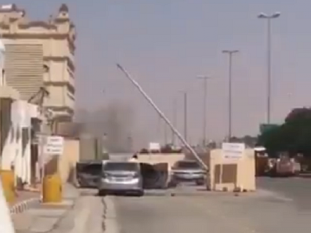 Four armed militants attempted to attack police station in Saudi Arabia.PHOTO: SCREENGRAB/TWITTER