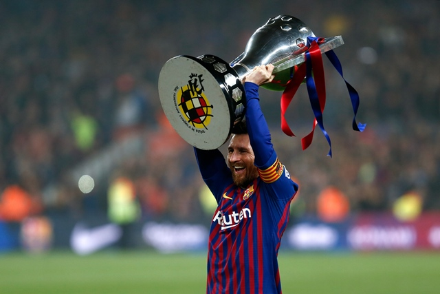 messi fires barca to eighth la liga title in 11 years