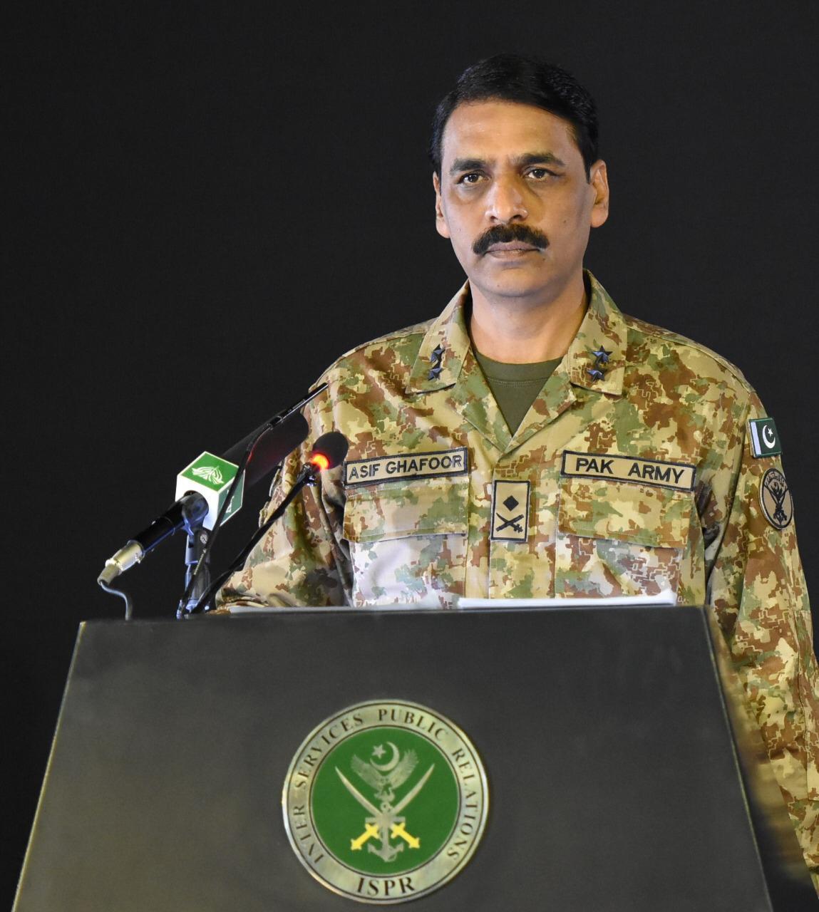 dg ispr major general asif ghafoor addresses a press conference on monday photo ispr