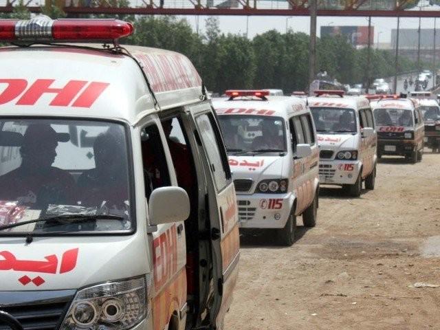 File photo of Edhi ambulances. PHOTO: FILE