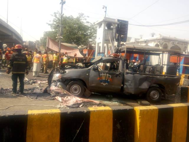An investigation into the terror attack near one of the largest shrines in South Asia is still underway. PHOTO: Express