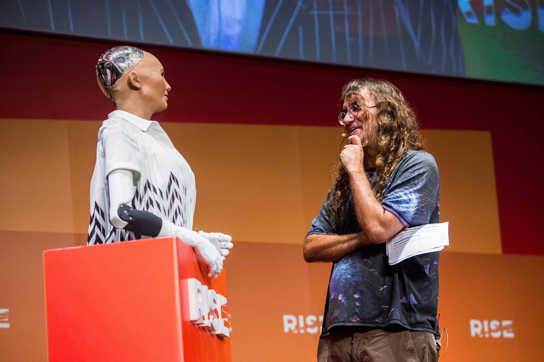 humanoid robot sophia addresses africa technology summit in rwanda