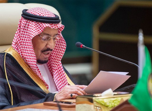 "Saudi King Salman bin Abdulaziz told a meeting of the Organization of the Islamic Cooperation that ""terrorist actions...target the safety of navigation and world oil supplies"". PHOTO: AFP"