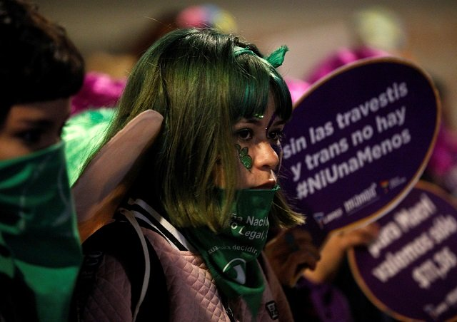 argentina s women protest for legal abortion against violence