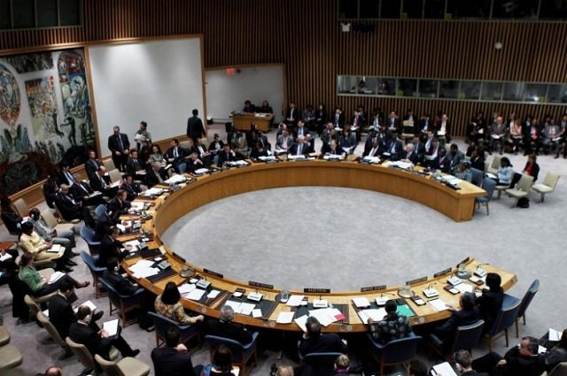 A general view shows a meeting of the United Nations Security Council at the UN headquarters in New York. PHOTO: REUTERS