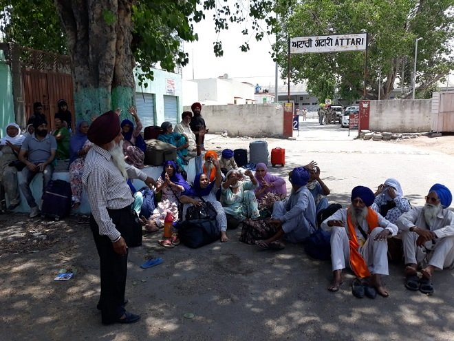 Special train arranged by Islamabad for Sikh pilgrims were not not allowed to enter Indian. PHOTO: EXPRESS
