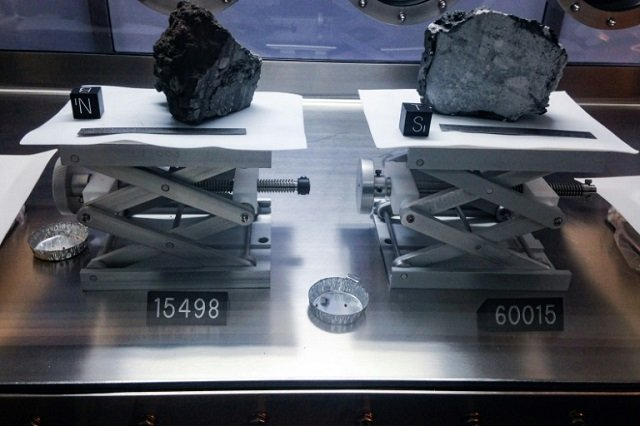 Moon rocks brought back by Apollo astronauts on display at the Johnson Space Center in Houston, Texas. PHOTO: AFP