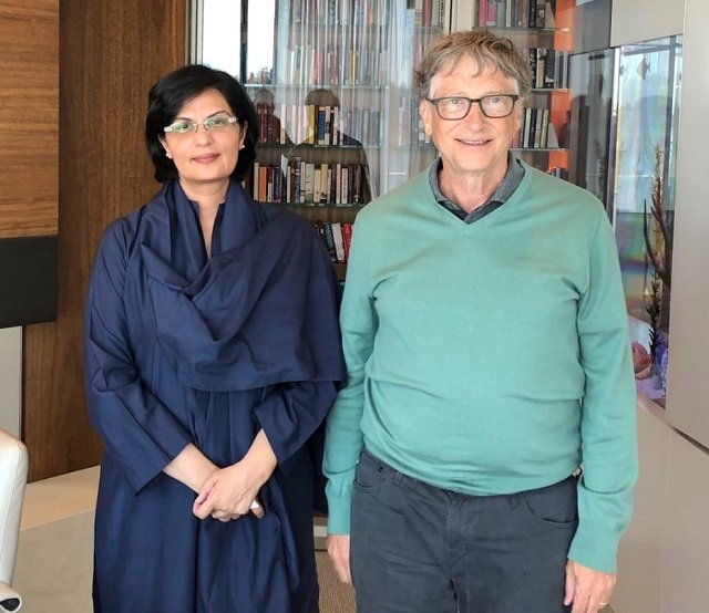 polio eradication program routine immunisation also discussed in meeting between dr sania nishtar and bill gates in seattle photo express