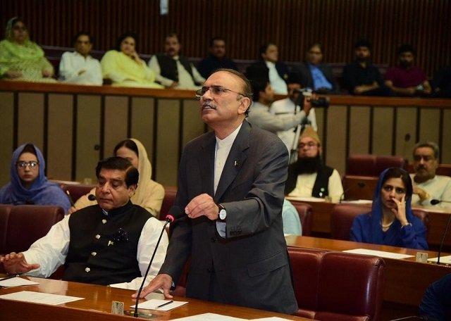 Former president Asif Ali Zardari addresses post-budget NA session on June 20, 2019. PHOTO: TWITTER/@BakhtawarBZ