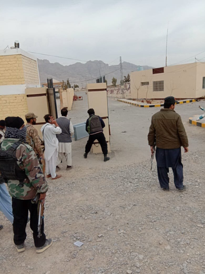security officials at the attack site in loralai district of balochistan on tuesday photo banaras khan express