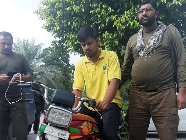The culprit, identified through his motorcycle registration as Tayyab Ahmed, arrested from his residence in Westwood Colony, Raiwind. PHOTO: EXPRESS