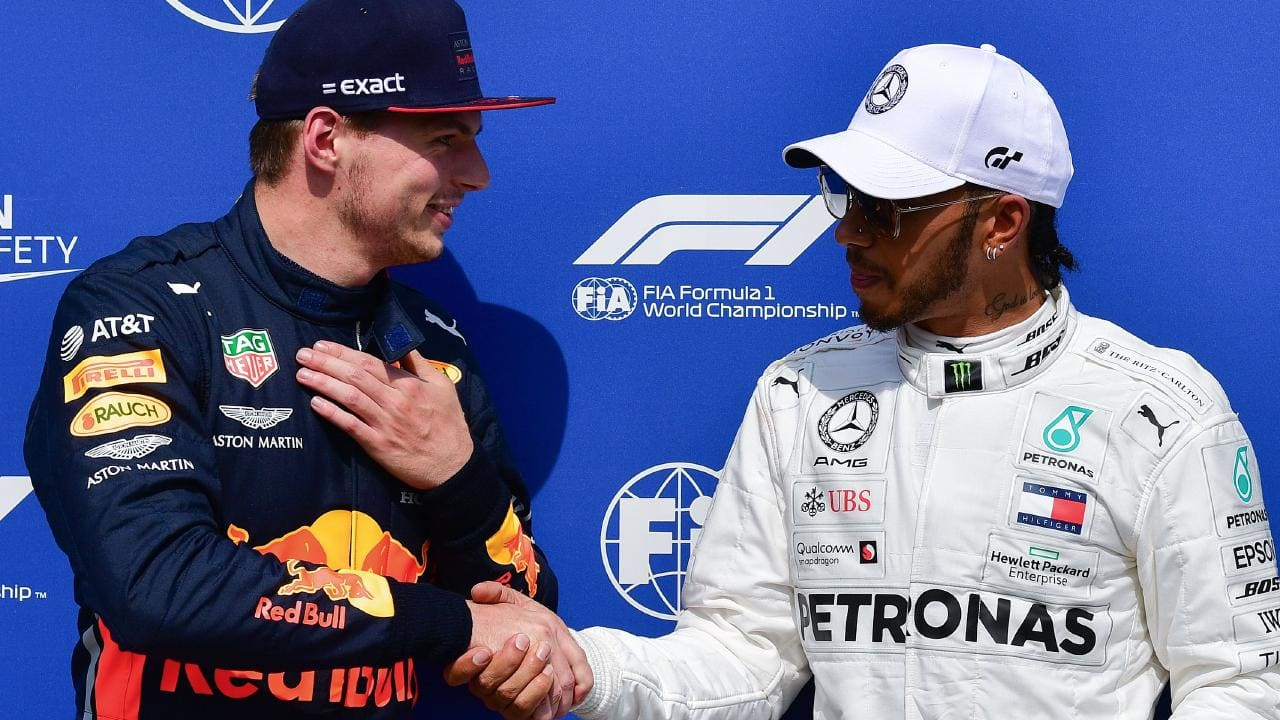 He congratulated Hamilton, 34, the man he is trying to knock off F1's pedestal as the dominant driver of the era -- an ambition that he may achieve in the seasons to come  PHOTO COURTESY: FOX SPORTS