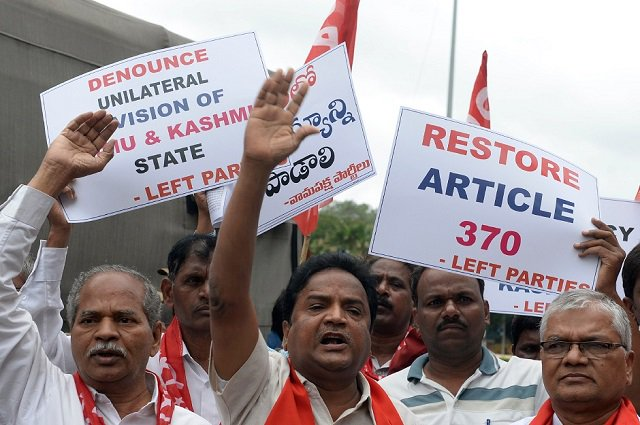 Members of the Communist Party of India take part in a protest in Hyderabad on August 7, 2019, in reaction to the Indian government scrapping Article 370 that granted a special status to Jammu and Kashmir. PHOTO: AFP