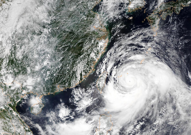 Satellite image obtained courtesy of the National Oceanic and Atmospheric Administration (NOAA) shows Typhoon Lekima approaching southeastern China. PHOTO: AFP
