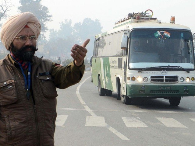 A file photo of bus service that takes passengers from Pakistan to India. PHOTO: AFP