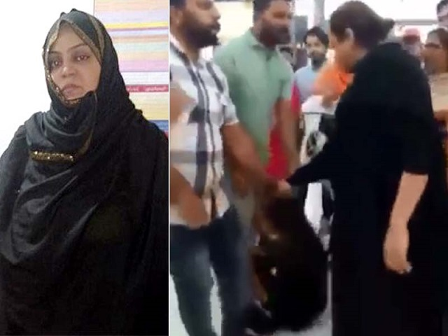 In the viral video the culprit can also be seen dragging the salesgirl by the hair. . SCREENGRAB: TWITTER/(PunjabPolice)