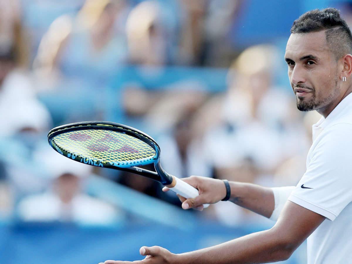 watch kyrgios smashes racquets calls umpire a tool