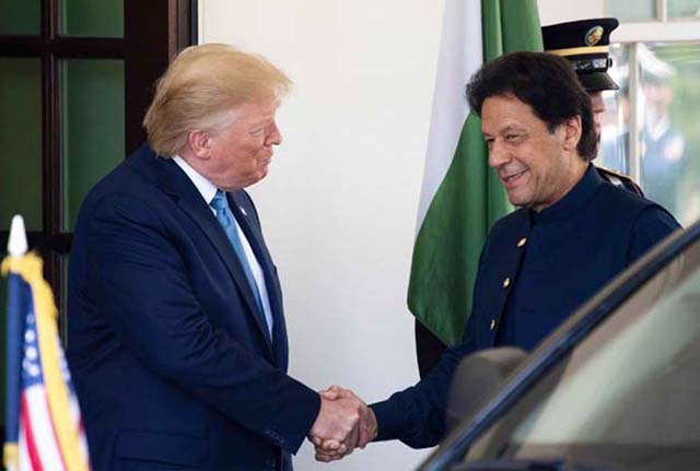 President Trump receives PM Imran at White House. PHOTO: FILE