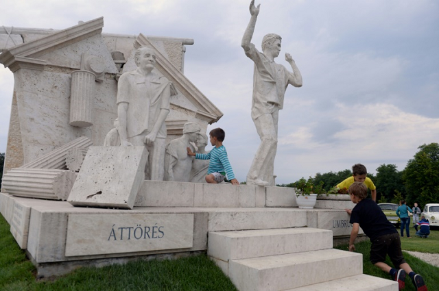"""A monument in Sopron on the Hungarian border with Austria, commemorates the 1989 """"Pan-European Picnic"""" during which at least 600 East Germans crossed the border and escaped to the West. PHOTO: AFP"""