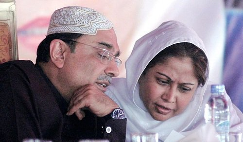 Former president Asif Ali Zardari and his Faryal Talpur. PHOTO: APP/FILE