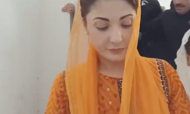 Maryam Nawaz in accountability court Lahore on Wednesday. SCREEN GRAB