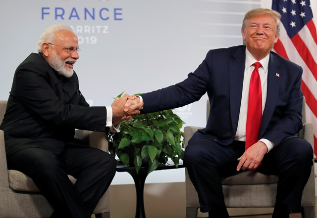 US President Donald Trump meets Indian Prime Minister Narendra Modi for bilateral talks during the G7 summit in Biarritz, France PHOTO: REUTERS