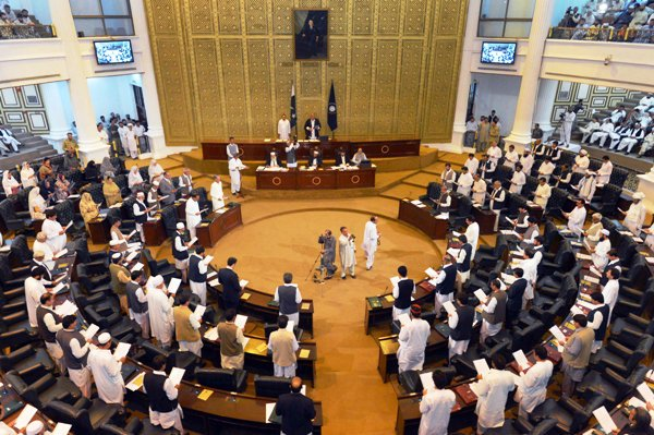 opposition storms out of k p assembly on historic day