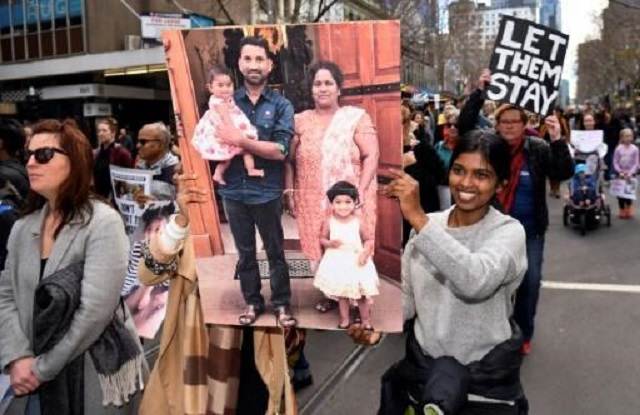 let them stay aussies rally against tamil family deportation