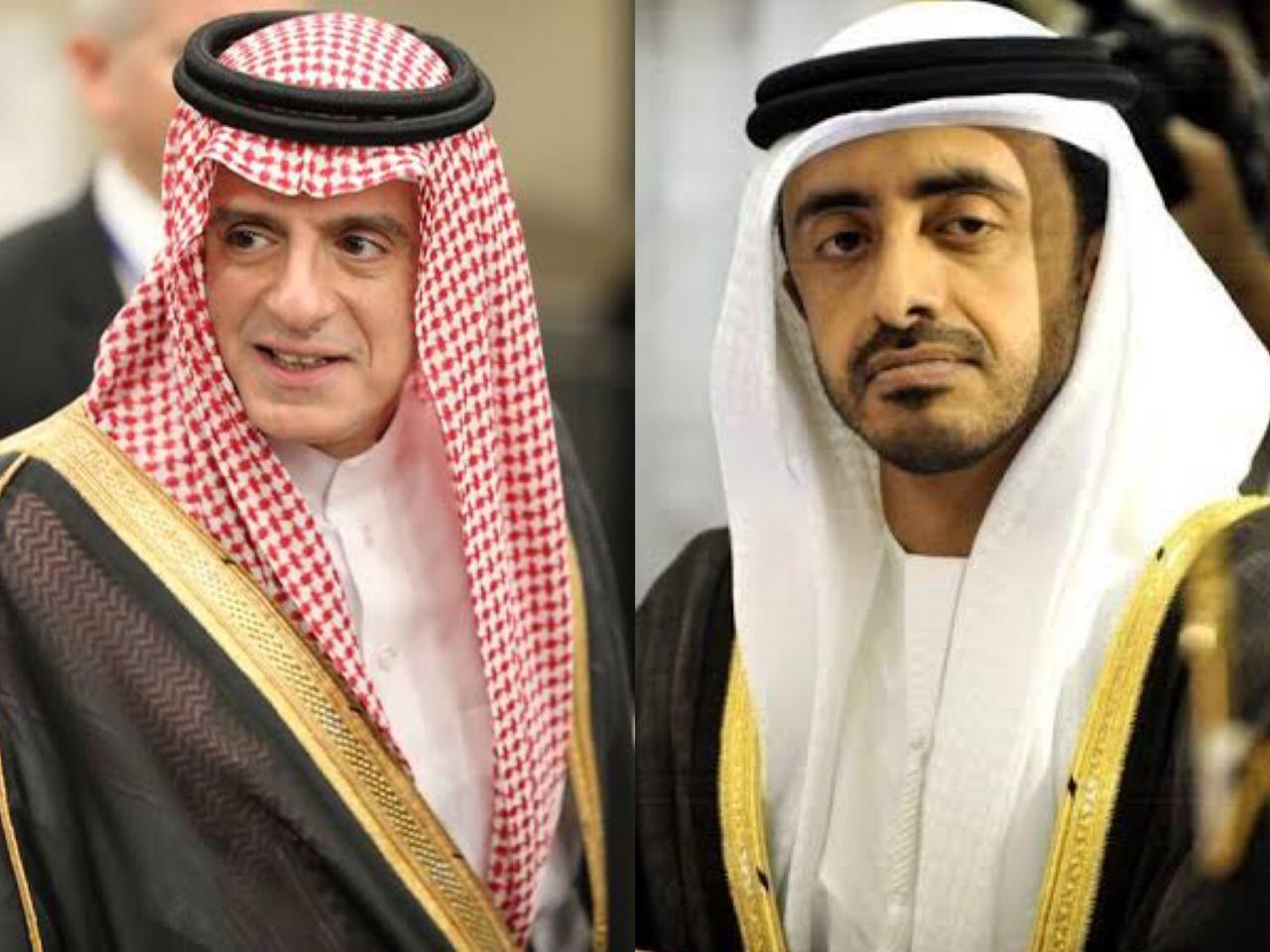 file photos of saudi foreign affairs minister adel bin ahmed al jubeir l and uae minister of foreign affairs and international cooperation sheikh abdullah bin zayed bin sultan al nahyan r