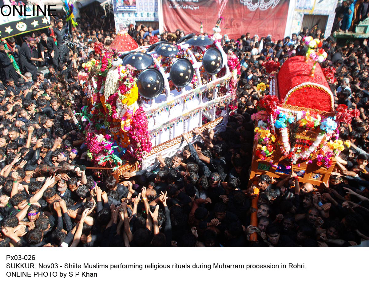 in this file photo mourners carry tazias as they take part in a muharram procession in rohri photo online