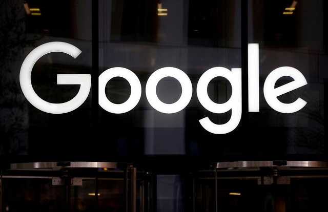The Google logo is pictured at the entrance to the Google offices in London, Britain January 18, 2019. PHOTO: REUTERS