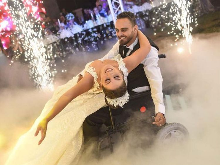 lebanese couple goes viral post bride s video with wheelchair bound groom
