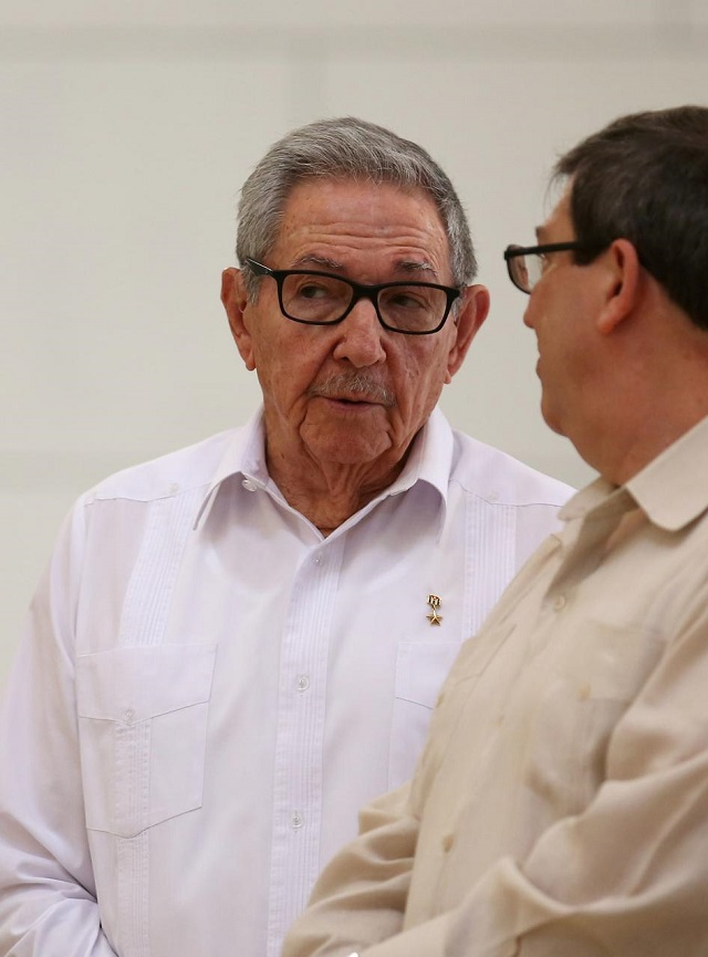 Cuba's First Secretary of the Communist Party and former President Raul Castro (L) talks with Cuba's Foreign Minister Bruno Rodriguez during an event with Russian Foreign Minister Sergei Lavrov (not pictured) at the Capitol, in Havana, Cuba July 24, 2019. PHOTO: REUTERS/FILE