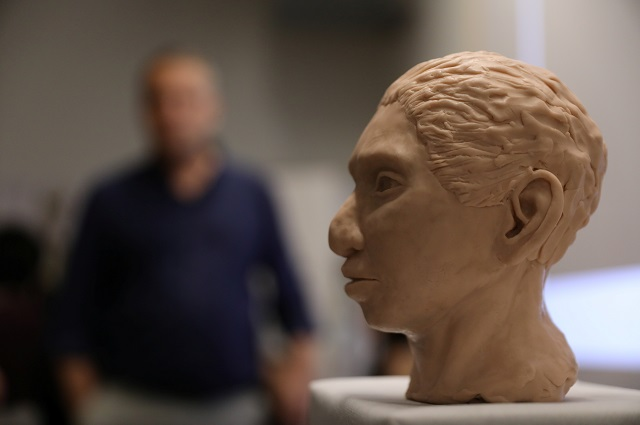 The artistic rendering of the head and face of a 13-year-old girl from the the prehistoric human species, Denisovan, based on technology developed by Hebrew University. PHOTO: REUTERS