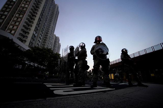 police officers stand during a demonstration by anti government protesters in sha tin hong kong china september 22 2019 photo reuters