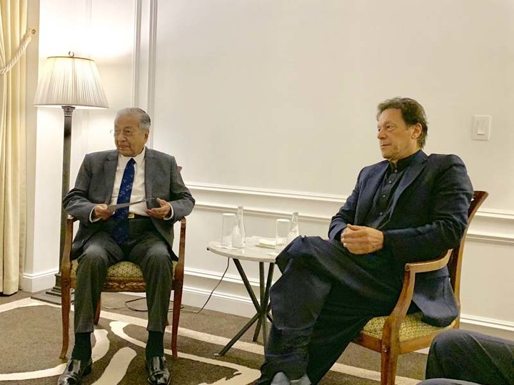 PM Imran, Erdogan, Mahatir hold trilateral summit on the sidelines of New York's UNGA session. PHOTO: TWITTER/(@MaleehaLodhi)