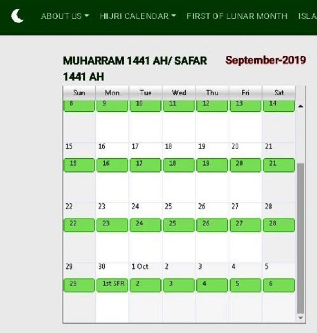 Ministry announces Hijri month to begin on September 30, however, top moon-sighting committee says October 1. SCREENGRAB: PAKMOONSIGHTING.PK