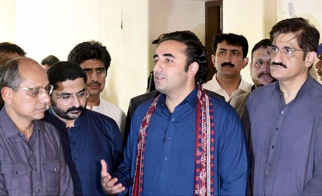 PPP Chairman Bilawal Bhutto Zardari speaks to media in Sehwan, Sindh. PHOTO: ONLINE